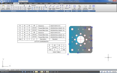 GstarCAD Mechanical Hole Chart